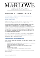 Marlowe PLC PRIVACY notice